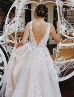 Chic 2021 New Beautiful Prom Es Long A-line v Neck Applique Pageant Evening Gowns Beading Sash Peach Formal Vestidos De Noiva 6QI5