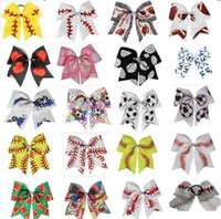 7pcs 18 colors 7inch Glitter Rugby Baseball Volleyball Softball Cheer Bowkont elastic hair accessories Girl Cheerleading Hairbow Ponytail Holder headwear
