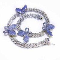 Fashion Bling Butterfly Bracelet Women Men's Hip Hop Jewelry Gold Color Necklace Choker Cuban Link Chain