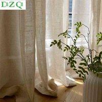 ستائر شير DZQ الصلبة الكتان تول الستار لغرفة النوم نافذة غرفة المعيشة المطبخ اليابان الديكور شير الفوال التعمية ثنى 210910