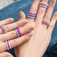 간단한 스타일 사랑 하트 에나멜 밴드 반지는 반짝이 큐빅 지르콘 돌 패션 웨딩 약혼 손가락 반지를 여성 쥬얼리에 대 한 포장