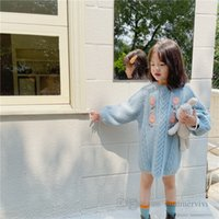 Girls floral embroidery sweater dresses kids twist knitted princess dress fall winter children round collar long sleeve thicken warm clothes Q2943