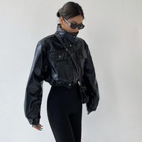 Women's Jackets Short Leather Pu Black Jean Jacket Jaket Women Clothes Loose Fashion Motorcycle Coat Autumn Cool Girl Ladies Zip Up V8PY