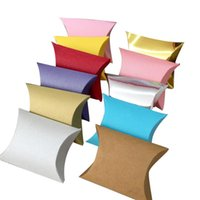 Gift Wrap 50pcs lot Pillow Shape Candy Box Bag Packaging Wedding Party Favor Kraft Paper Boxes Home Christmas Supply