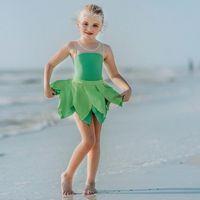 One-Pieces Muababy Summer Swimwear For Girls One-Piece Bodysuit Beach Dress Toddler Kids Swimsuit Princess Pool Swimming Bikini Outfit