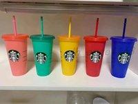 Sıcak Satış Starbucks 24 oz / 710 ml Plastik Tumbler Kullanımlık Temizle İçme Düz Alt Kupası Sütun Şekli Kapak Kupa Bardian