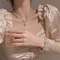 Earrings & Necklace Selling Fashion Jewelry Set Elegant White Pearl Sexy Female Bowknot Prom Party Bracelet