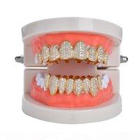 18 كيلو الذهب الحقيقي أسنان grillz قبعات مثلج من الزركون 8 الأسنان أعلى مصاص دماء الأنياب طب الأسنان شواء مجموعة بالجملة