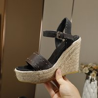 Designer high quality famous brand womens fashion spring and summer new open toe high heels leather slope heel hemp rope thick bottom womens Sandals Size 35-40