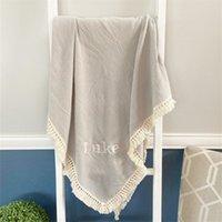 Tassel Baby Receiving Blanket Muslin Blanket Personalized Name Throw Blanket, Stroller Cover, Swaddling Blanket Burb Cloth 210914
