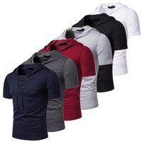 Männer T-Shirts Kapuze T-Shirt Männer 2021 Neue Kurzarm Streetwear O Neck Herren Tshirts Sommer Casual Slim Fit Hoody T-Shirt