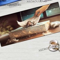 Mouse Pads & Wrist Rests XGZ Anime Large Pad Black Lock Edge HD Girl Oil Painting Paper Towel Computer Table Mat Fabric Rubber Non-slip 70x3