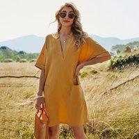 Casual Dresses 2021 Dress Retro Knee-Length Skirt V-neck Pullover Long Sleeve Shirt Fashion Loose Vest Sexy Women