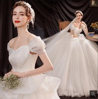 2021 robe de soiree white tulle ball gown cap sleeve wedding dresses layered modest princess plus size bridal gowns corset sweetheart neck new bride dress on sale