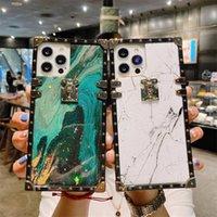 Роскошные Bling Gold Foil Joil Marble Square Чехлы для телефона для iPhone 13 Mini 12 11 7 8 Plus X XR XS Max Blitter Мягкая крышка
