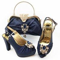 High Grad D.Blue Damen Pumps Match Handtasche Set mit Kristalldekoration Afrikanische High Heel Kleid Schuhe und Tasche QSL017, Ferse 11cm