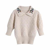 Женские свитера Puwd Vintage Женщина с отложенным охватом воротника вышивка свитер 2021 моды женские бежевые половина рукава трикотаж женский элегантный мягкий до