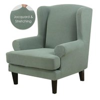 Wing Chair Cover Jacquard Spandex Stretch Slipcovers For Wingback Chairs Stylish 2 Band Set With Elastic Piece