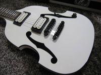 Promoção! PGM 700 Paul Gilbert Mij Violino Guitarra Elétrica Branco Duplo F Hole Tinta, Hardware Preto, Black Body Binding