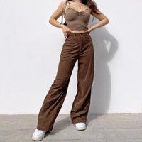 Mulheres Calças Nova Retro Super Luz Núcleo Núcleo Slacks Brown Largo Perna Calças Estilo de Rua Confortável Jeans Dropshipping