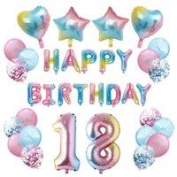 35 unids Colorido Feliz cumpleaños Letra Globo Set Foil Helium Globos Fiesta de cumpleaños Decoración de la celebración Decoración de cumpleaños