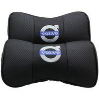 Kundenspezifisches Logo Echtes Leder Auto Nacken Knochenförmige Kissen Autositz Kopfstütze Bequem mit atmungsaktiven Löchern für Volvo1-Paar