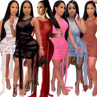 XS-XL Frauen Nachtclub Tragen Sexy Sheer Kleider Schwarzes Mesh Minirock Sleeveless Skinny Verband einteiliges Kleid Mode Paket Hüftrock 1618