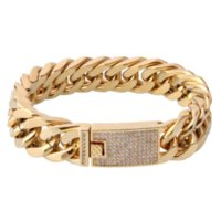 316L Stainless Steel Cuban Link Bracelet Real Gold Plated Pave Zircon Stainless Steel Cuban Link Bracelet