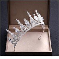 Ailibride Luxus Kristall Zirkon Hochzeitskrone Braut Tiaras und Kronen Königin DIADEM Pageant Party Crown Hochzeit Haar ACC Jllpwc