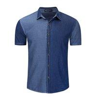 Uomini Manica corta Denim Shirt Pulsante Giù Regular Fit Color Block Casual Camicie da uomo Cappotto Giacca Cappotto Mens Tops EUR Size FM56006