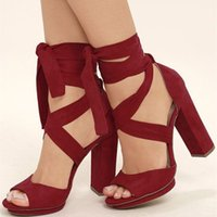 Handmade Womens Chunky Heels Sandals Crisscross Strips Red Kid Suede Party Prom Summer Shoes Daily Wear US5-15 Fashion Shoes D471