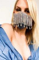 Colgantes de la oreja colgante estilo bufanda negro enchufable filtro polvo a prueba de polvo personalidad intermitente diamante joyería metal agua gota borla gema pendiente máscara