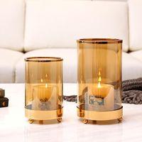 Portacandele in vetro moderno oro moderno decor menorah all'aperto stile nordico stile candela giardino porta velas tavola da pranzo tavola BW50ZT