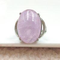 Anéis de cluster Natural Roxo Kunzite Quartz Cat Olho Ajustável 20x15mm Anel Cristal Oval 925 Esterlina Silver Stry Stone