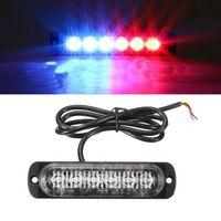 10 STÜCKE Rot Blau Notfall Blitzlichter 6-LED Warnung 6-SMD Blinklicht Vorsicht Konstruktionslicht Bar Van Off Road ATV SUV