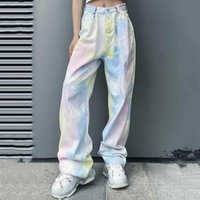 Women's Jeans Rainbow Tie Dye Printed Buckle High Waist Straight Loose Denim Pants Y2K Gradient Wide Leg Jean Trousers Streetwear