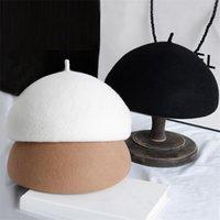 Bérets 100% laine feutre hiver béret solide réchauffeur femme bonne chance classique style français femme fascinator chapeau