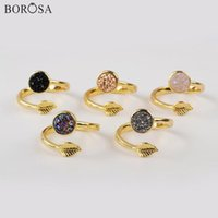 Anillos de racimo BOROSA 5 / 10PCS Redondo Druzy Agates de arco iris Titanium Gold para las mujeres Regalos de joyería ajustables ZG0437