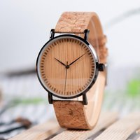 Saatı Erkekler İzle Bobo Kuş Erkek Bambu Kol Paslanmaz Çelik Kılıf Dial Kuvars Doğal Mantar Band Orologi Donna V-E19