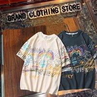 Maré marca casal hip-hop graffiti de manga curta camiseta homens e mulheres verão retro solto redondo pescoço de mangas t-shirt M-2XL