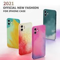 Buena caja de lujo de silicona pintada para iPhone 12 11 Pro Max Mini SE X XR XS MAX 7 8 PLUS Cuadrado Cuadrado