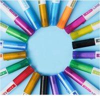 12 색 더블 라인 개요 펜 세트 반짝이 금속 색상 형광펜 out 라인 마커 펜 아트 페인팅 학교 Qylisp