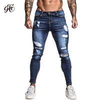 Gingto erkek Sıska Streç Tamir Kot Koyu Mavi Hip Hop Sıkıntılı Süper Sıska Slim Fit Pamuk Rahat Büyük Boy ZM34 210317