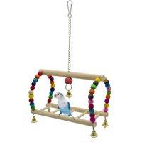 2021 Kuş Oyuncaklar Kuşlar Evcil Papağan Merdivenleri Tırmanma Oyuncak Asılı Renkli Ahşap Ile Renkli Toplar