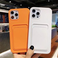 Liquid Silicone Card Slot Holder Soft TPU Cell Phone Cases for iPhone 13 12 11 Pro Max XR XS X 8 7 6 Plus