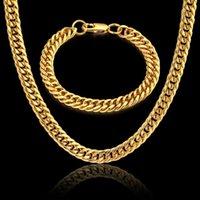 Set di collana braccialetto a catena hiphop per uomo Dubai gioielli all'ingrosso catene stile roccia in acciaio inox maschile set gioielli set