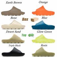 Com caixa 2021 slipes sandálias sandálias homens mulheres deserto areia terra marrom ósso branco resina corrediça corrediça deslizamento ao ar livre tamanho 35-47