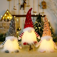Sequin Christmas Gnome LED Christmas Decorations Glowing Faceless Doll Home Shop Window Ornaments Xmas Gifts XD24908
