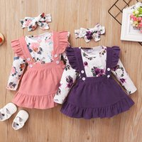 kids Clothing Sets girls flower outfits infant toddler Floral Flying sleeve Tops+ruffle strap dress+headband 3pcs sets summer baby Clothes