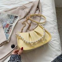 Fashion kids pearls chain handbags girls metal PU leather straps messenger bag lady style children single shouder bags women 3059 Q2